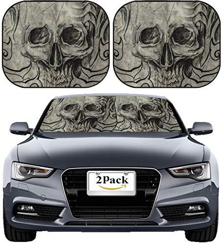 MSD Car Sun Shade Windshield Sunshade Universal Fit 2 Pack, Block Sun Glare, UV and Heat, Protect Car Interior, Image ID: 25613253 Tattoo Art Sketch of Skull with Tribal Designs
