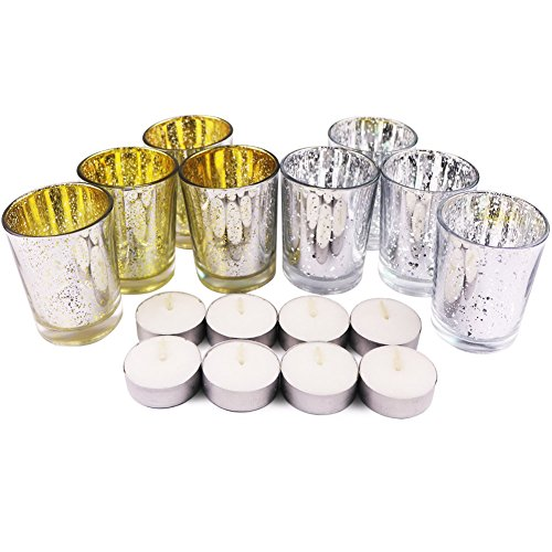 Art Candle Holder | 8 Pcs Beautiful Gold and Silver Mercury Glass Candle Votive Tea Light Holders with 8 Bonus Tea Lights for Romantic Restaurant Dinner Church Wedding Party Candlelight | 1401
