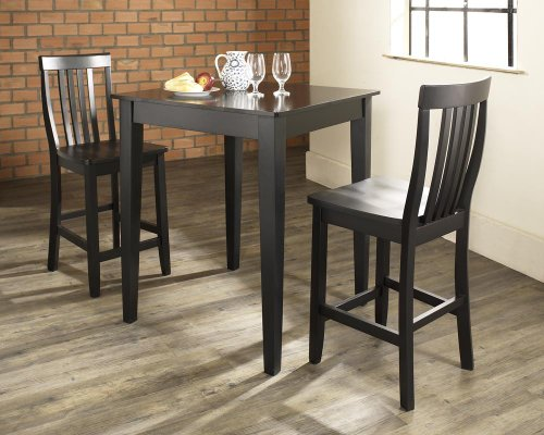 Crosley Furniture KD320007BK 3-Piece Pub Set with Tapered Leg Table and Schoolhouse Stools ()