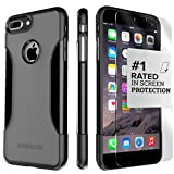 iPhone 8 Plus and 7 Plus Case, SaharaCase Protective Kit Bundled with [ZeroDamage Tempered Glass Screen Protector] Rugged Slim Fit Shockproof Bumper [Hard PC Back] Protection - Black Gray