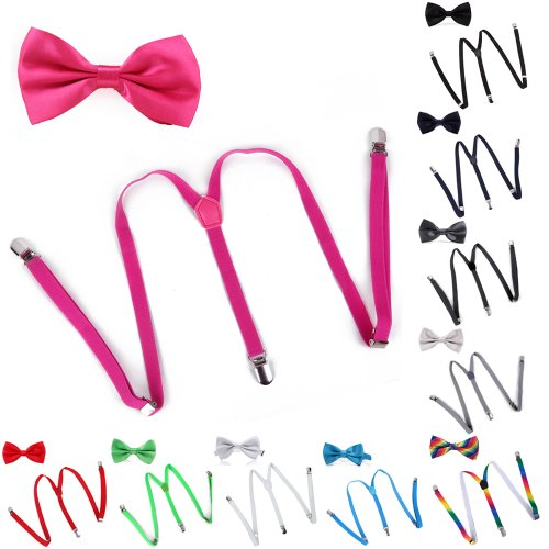 HDE Men's Matching Skinny Y-Back Clip Suspender & Pre-Tied Bow Tie Combo Sets