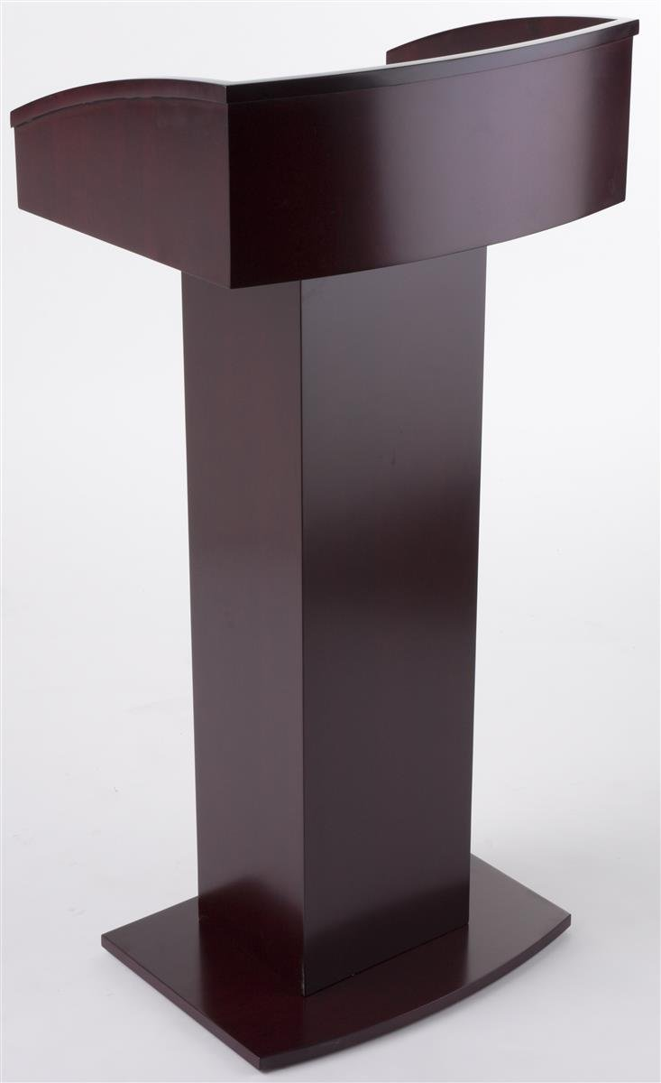 Displays2go Floor Standing Pulpit with Wood Grain Style, Pedestal Base, Mahogany LCTENCRM