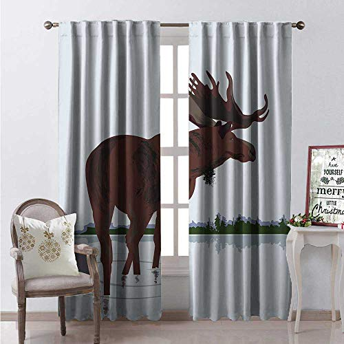 Hengshu Moose Thermal Insulating Blackout Curtain Canadian Nature Elk Deer Stag in Cartoon Style Wal in Water Blackout Draperies for Bedroom W108 x L84 Dark Brown Ba Blue and Green