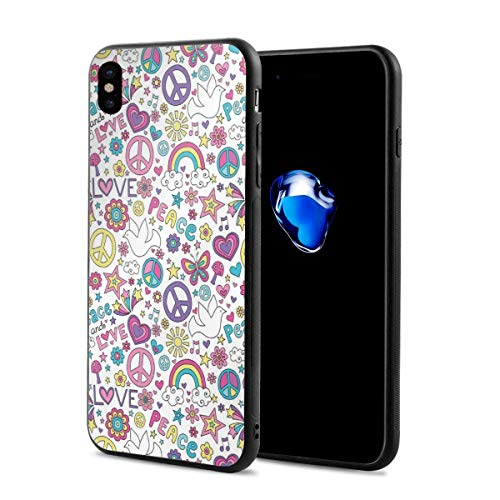Phone Case Cover for iPhone X XS,Retro Symbols of Sixties Peace Magic Mushroom Love Stars and Hearts Hippie Music,Compatible with iPhone X/XS 5.8 ()