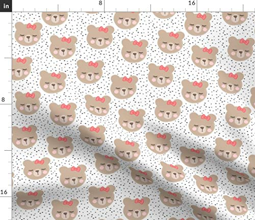 Spoonflower Bears Fabric - Bears Baby Girl Bows Woodland Cute Bear Face Sweet by Littlearrowdesign Printed on Modern Jersey Fabric by The - Sweet Jersey Face