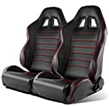 Modifystreet 1 Pai Type R Style Reclinable PVC Leather Sport Racing Bucket Seats - Black/Red Stitching (Sliders included)
