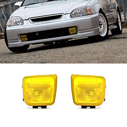 (VioGi Fit 96-98 Honda Civic Yellow Lens Fog Lights Kit w/ Bulbs+Switch+Wiring Harness+Relay+Bracket+Necessary Mounting Hardware)