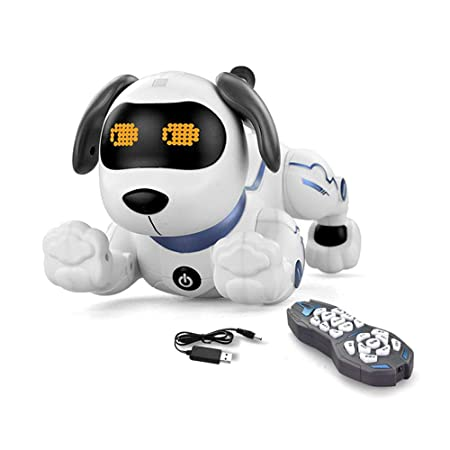 Tawcal Plastic K6 Interactive Puppy Intelligent Multi Mode USB Charging Remote Control Robot Dog Toy for Kids (White)