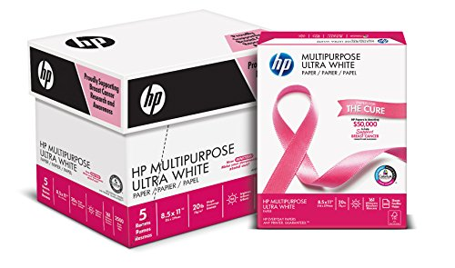 HP Printer Paper, Multipurpose20, 8.5 x 11 Paper, Letter Size, 20lb Paper, 96 Bright, 2,500 Sheets / 5 Ream Carton (115100PC) Acid Free Paper