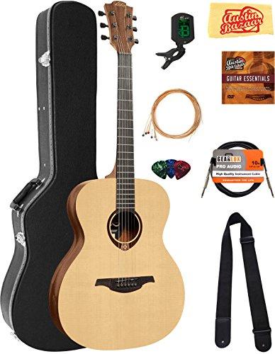 Graphite Acoustic Guitar - Lag Guitars T70A Tramontane Auditorium Acoustic Guitar Bundle with Hard Case, Tuner, Strings, Picks, Austin Bazaar Instructional DVD, and Polishing Cloth