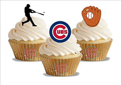 12 x Baseball Chicago Cubs Mix - Fun Novelty Birthday PREMIUM STAND UP Edible Wafer Card Cake Toppers Decoration ()