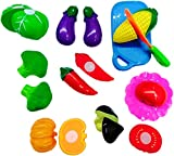Blossom Realistic Sliceable Fruits Or Vegetables Cutting Play Kitchen Set Toy (11 pcs set) with various Fruits Or Vegetables,Knife,Plate and Cutting Board for Kids,Random Set