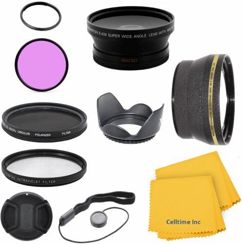 Celltime Elite Kit for CANON PowerShot SX40 HS SX30 SX20 IS - Includes: Lens Adapter + 2.2X Telephoto and 0.43X Wide Angle High Definition Lenses + Filter Kit (UV, CPL, FLD) + Tulip Lens Hood + Lens Cap + Celltime Elite