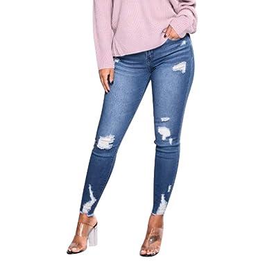 77ebbb253da0 wuliLINL Stretch Ripped Slim Sexy Zipper Hole Design Pencil Pants Middle  Waisted Skinny Leggings Trousers (