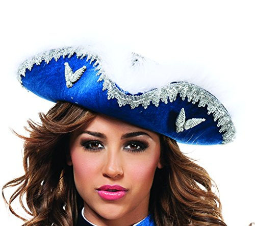 Adult Musketeer Hat (Starline Women's Musketeer Hat, Blue/Silver, One Size)