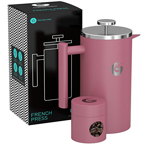 Large French Press Coffee Maker – Vacuum Insulated Stainless Steel, 34 floz, Pink