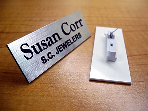 Custom Engraved 1x3 Brushed Silver Name Tag | Badge With Pin Closure | Employee Identification Plate Sign Personalized