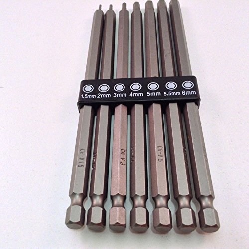 7pc Long Reach Metric Hex Bit Set with 1/4