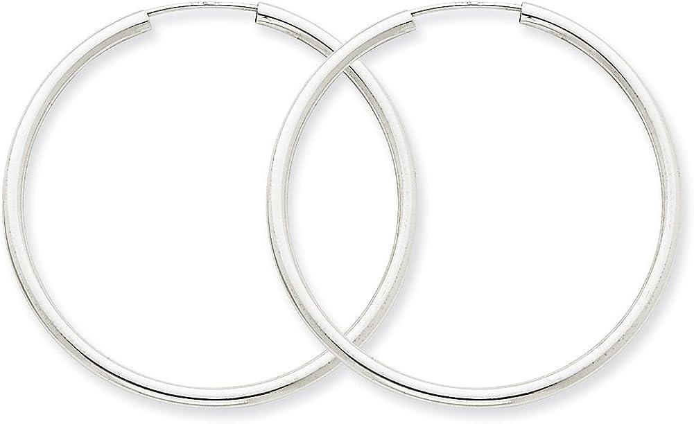 Lex /& Lu 14k White Gold Polished Endless 2mm Hoop Earrings LAL76924