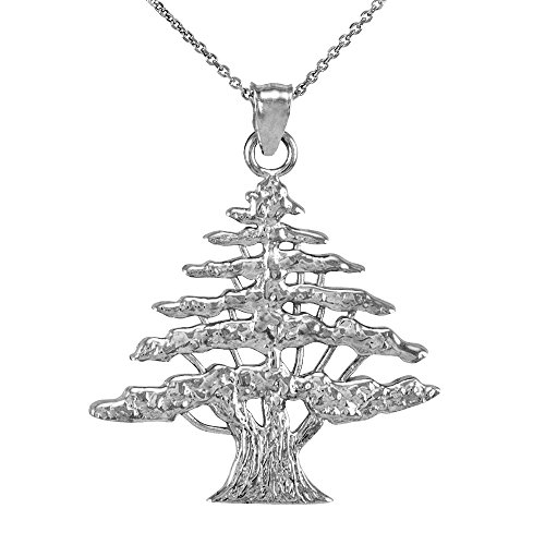 Middle Eastern Jewelry Textured 925 Sterling Silver Lebanese Cedar Tree Pendant Necklace, 18