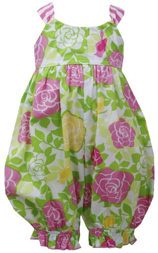 Price comparison product image Pink Green Crossover X-Back Rose Floral Print Romper PK0SA,  Pink,  Bonnie Jean Baby-Newborn 3M-9M,  BB-SA,  Sleeveless-Jumpsuit