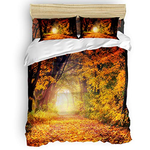 EZON-CH 4 Piece Duvet Cover Set Kids Bedding Set Bedroom Collection,Sunset Illuminating Maple Forest Soft Child Bed Sheet Set,Include 1 Duvet Cover 1 Bed Sheets 2 Pillow Cases Full - Bed Maple Canopy Bedroom