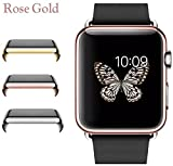 Josi Minea Apple Watch [38mm] Protective Snap-On Case with Built-in Clear Glass Screen Protector – Premium Anti-Scratch & Shockproof Shield Guard Full Cover for Apple Watch – 38mm [ Rose Gold ]