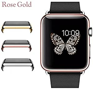 Josi Minea Apple Watch [38mm] Protective Snap-On Case with Built-in Clear Glass Screen Protector - Anti-Scratch & Shockproof Full Cover Shield Guard for Apple Watch Series 1 - 38mm [ Rose Gold ]