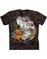 The Mountain Men's Dreams of Wolf Spirit T-Shirt, Black, 3XL