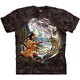 The Mountain Men's Dreams Of Wolf Spirit T-Shirt, Black, 2XL