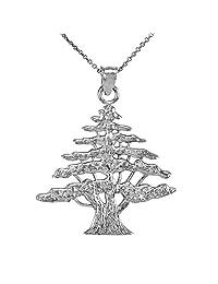 Textured 925 Sterling Silver Lebanese Cedar Tree Pendant Necklace