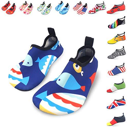 LYSHION Badeschuhe Schlüpfen Schnell Trocknend Schwimmen Aquaschuhe Wasserschuhe Surfschuhe Schwimmschuhe für Damen Herren Kinder Blauer Fisch