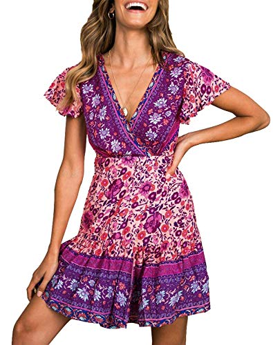 ZESICA Women's Summer Wrap V Neck Bohemian Floral Print Ruffle Swing A Line Beach Mini Dress Purple (Purple Dress With Jewels)