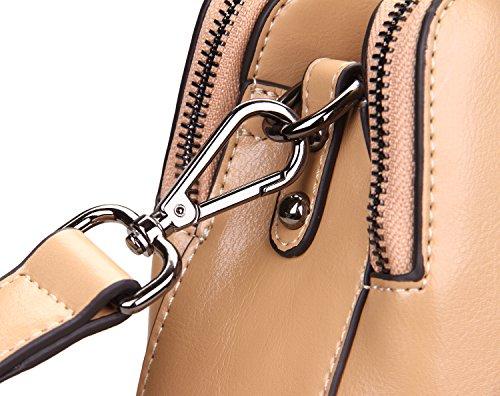 Heshe cuero para mujer bolsos Totes Top asa bolsa de hombro Satchel señoras monederos (Cracker Khaki-r)