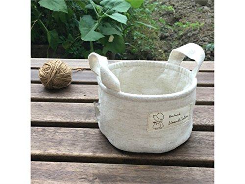 Gelaiken Lightweight Cylindrical Tote Storage Bucket Cotton and Linen Bucket Sundries Storage Bucket(White) by Gelaiken