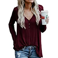 Chuanqi Womens Henley Shirts V Neck Button Long Sleeve Loose Casual Knit Sweaters Tops