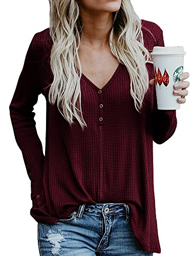 (Womens Henley Shirts Fall V Neck Button Long Sleeve Loose Casual Knit Sweaters Tops)