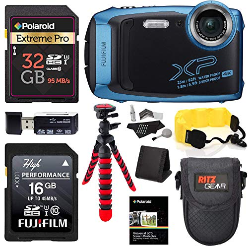 Fujifilm Finepix XP140 (Blue) Point and Shoot Camera Bundle with Memory Cards, Tripod, Float Strap, Memory Card Reader and More