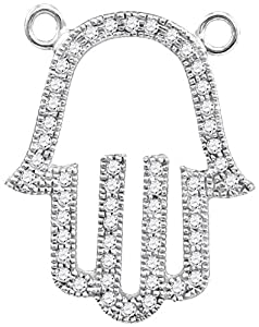 Diamond Pendant 10kt White Gold Hamsa Hand Outline Necklace 1/5 Cttw(I2/i3, i/j)