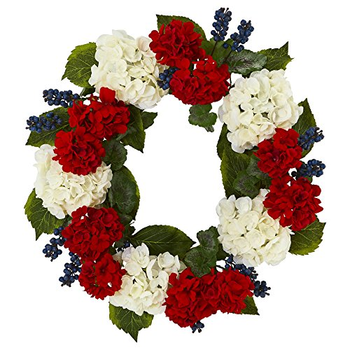 Nearly Natural 4324 21 in. Geranium and Blue Berry Artificial Wreaths Multi ()