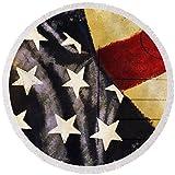 Pixels Round Beach Towel With Tassels featuring ''America Flag Pattern Postcard'' by Setsiri Silapasuwanchai