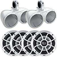 Two pairs of Wet Sounds XS-650-S 6.5 100 Watt Speakers with Kicker KMTED White Tower/Roll Bar Enclosures