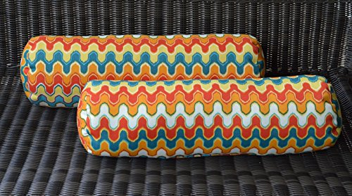 Set of 2 Indoor / Outdoor Decorative Bolster / Neckroll Pillows - Geometric Flame Red Orange Teal - Neckroll Bolster Pillow