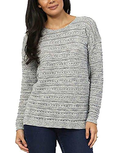 Leo & Nicole Ladies' Pointelle Crew-Neck Sweater. Collor: Grey. Size: XXL.