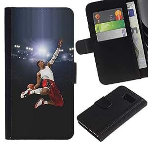 NEECELL GIFT forCITY // Billetera de cuero Caso Cubierta de protección Carcasa / Leather Wallet Case for Samsung Galaxy S6 // Volar Baloncesto héroe