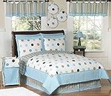 Blue and Brown Modern Dots Childrens, Kids, Teen 3 Piece Full/Queen Boys Bedding Set