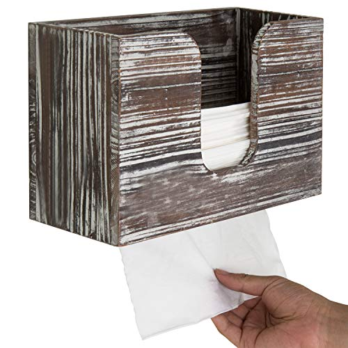 MyGift Torched Wood Wall-Mounted Paper Towel Dispenser