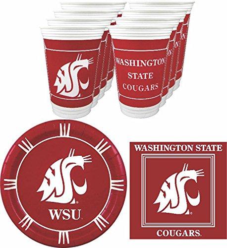 Beverage State Cougars Washington - Westrick Washington State Cougars Party Supplies - 48 pieces