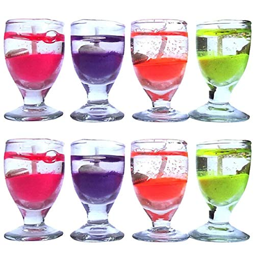 BDS CREATIONS 57 SMOKELESS Scented Multi Gel Votive Wine Glass Aromatic Candle Pack of 8PCS