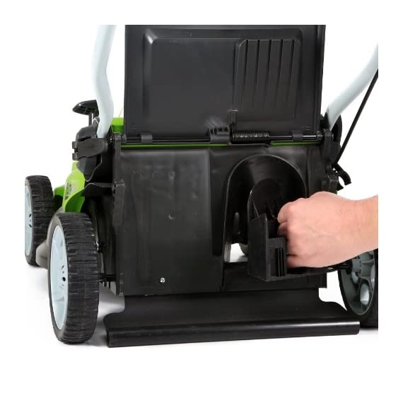 Greenworks 16-inch 10 amp corded electric lawn mower 25142 & 24012 7 amp 160 mph single speed electric blower, black and… 7 g-max 40v 4ah li-ion battery (model 29472) powers multiple tools for complete yard work system--includes 1-4ah battery and charger single lever 5-position height adjustment offers cutting height range from 1-1/4 inch to 3-3/8-inch for the best cut in all environments 2-in-1 feature offers rear bagging and mulching capability for multiple use. Cuts 400m2 on a single charge. Nice even cut for all grass types